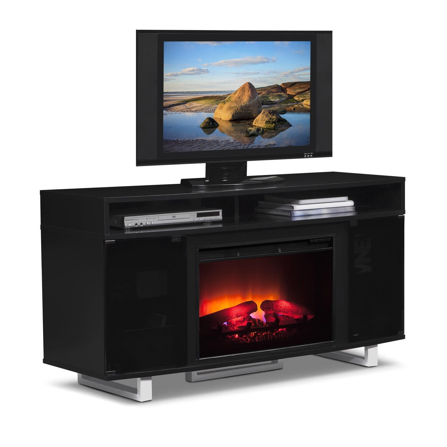 pacer 56 traditional fireplace tv stand black value city furniture. Black Bedroom Furniture Sets. Home Design Ideas