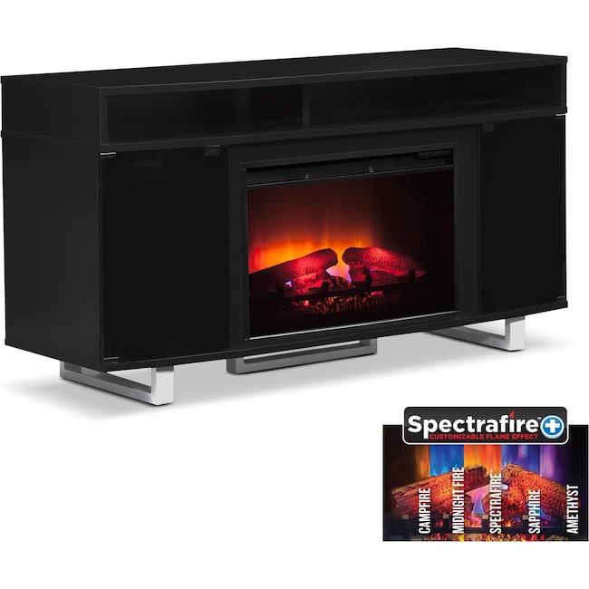 """Entertainment Furniture - Pacer 56"""" Traditional Fireplace TV Stand - Black"""