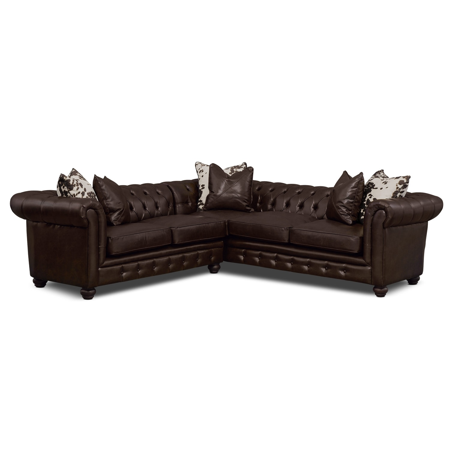 Living Room Furniture - Madeline 2-Piece Sectional - Chocolate