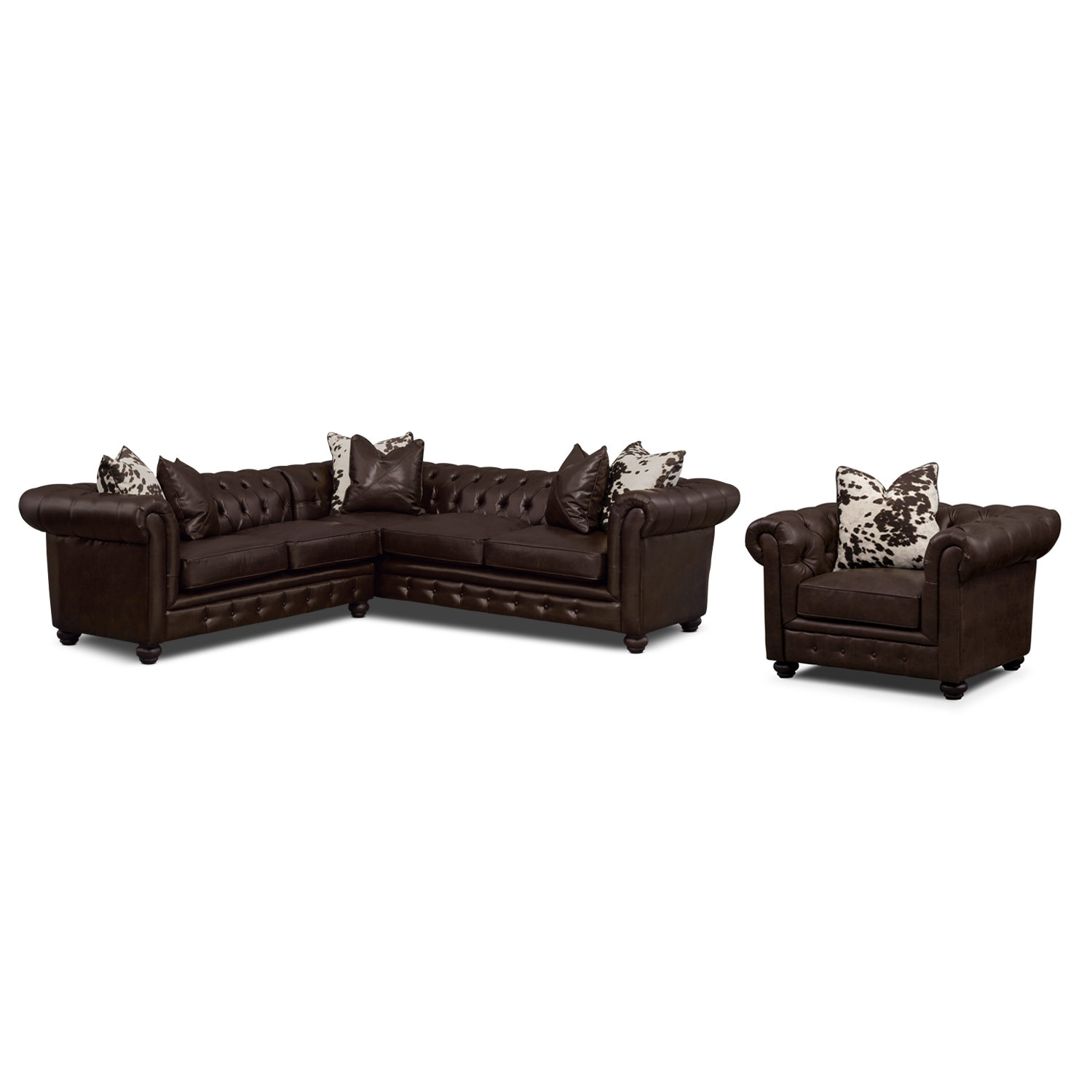 Living Room Furniture - Madeline Chocolate 2 Pc. Sectional and Chair