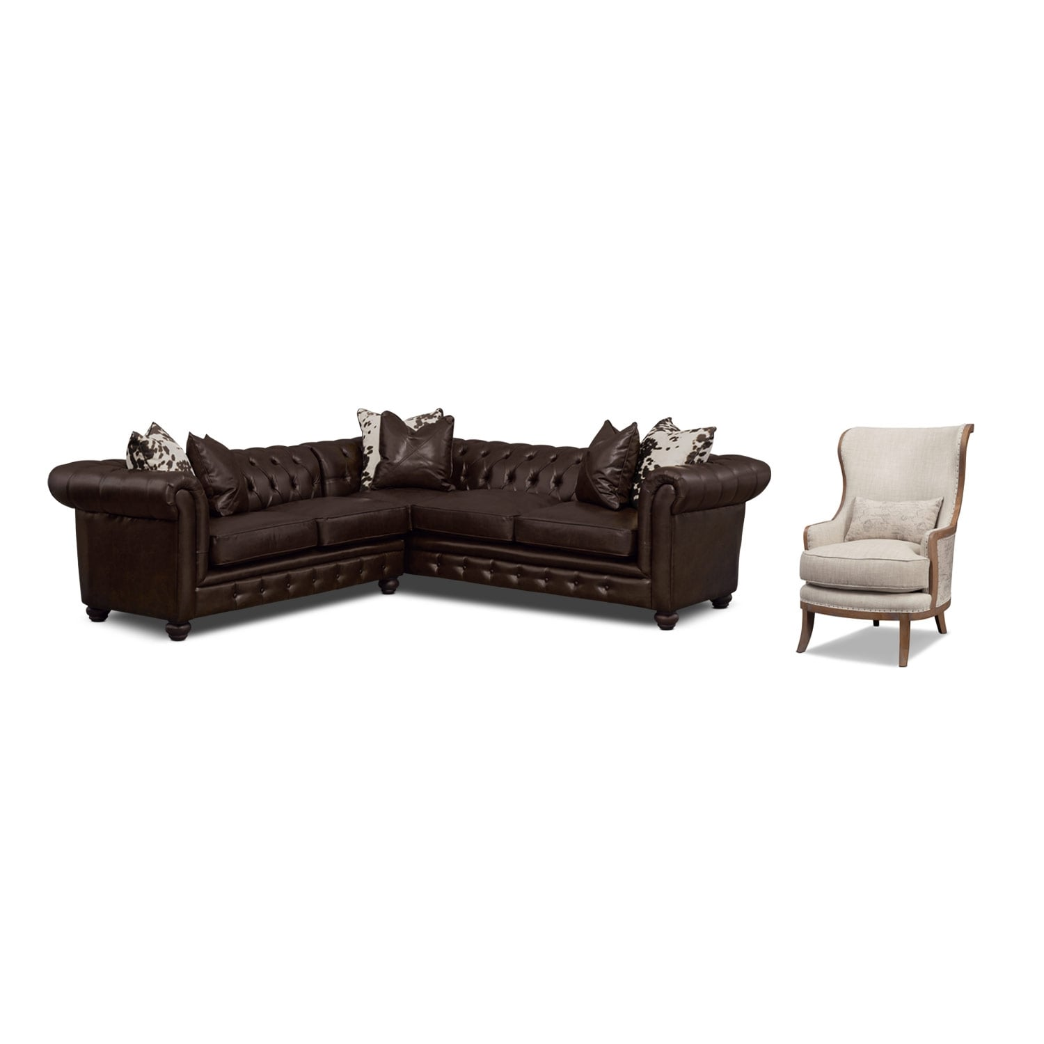 Living Room Furniture - Madeline Chocolate 2 Pc. Sectional and Framed Accent Chair