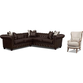 Madeline Chocolate 2 Pc. Sectional and Framed Accent Chair