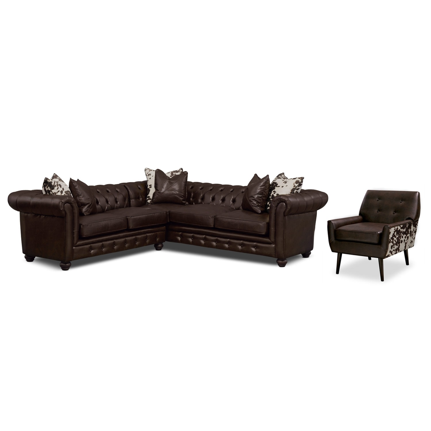 Living Room Furniture - Madeline 2-Piece Sectional and Accent Chair - Chocolate