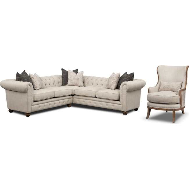 Living Room Furniture - Madeline 2-Piece Sectional and Framed Accent Chair Set - Beige