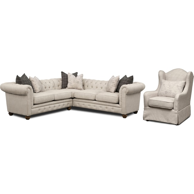 Living Room Furniture - Madeline 2-Piece Sectional and Accent Chair Set - Beige