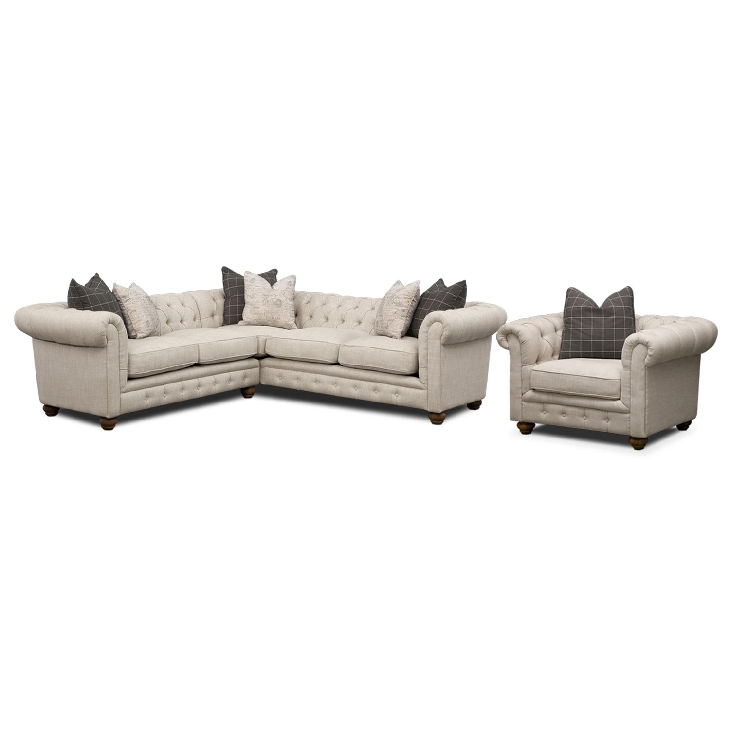Madeline 2-Piece Sectional and Chair Set - Beige