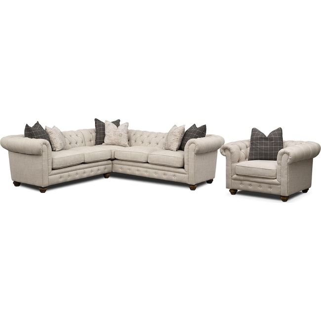 Living Room Furniture - Madeline 2-Piece Sectional and Chair Set - Beige