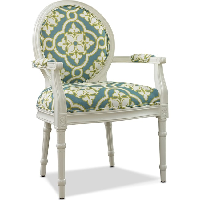 Accent and Occasional Furniture - Sable Accent Chair - White and Teal