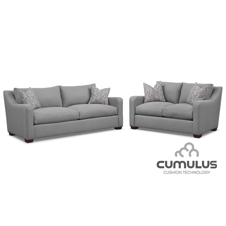 Jules Cumulus Sofa, and Loveseat Set- Gray
