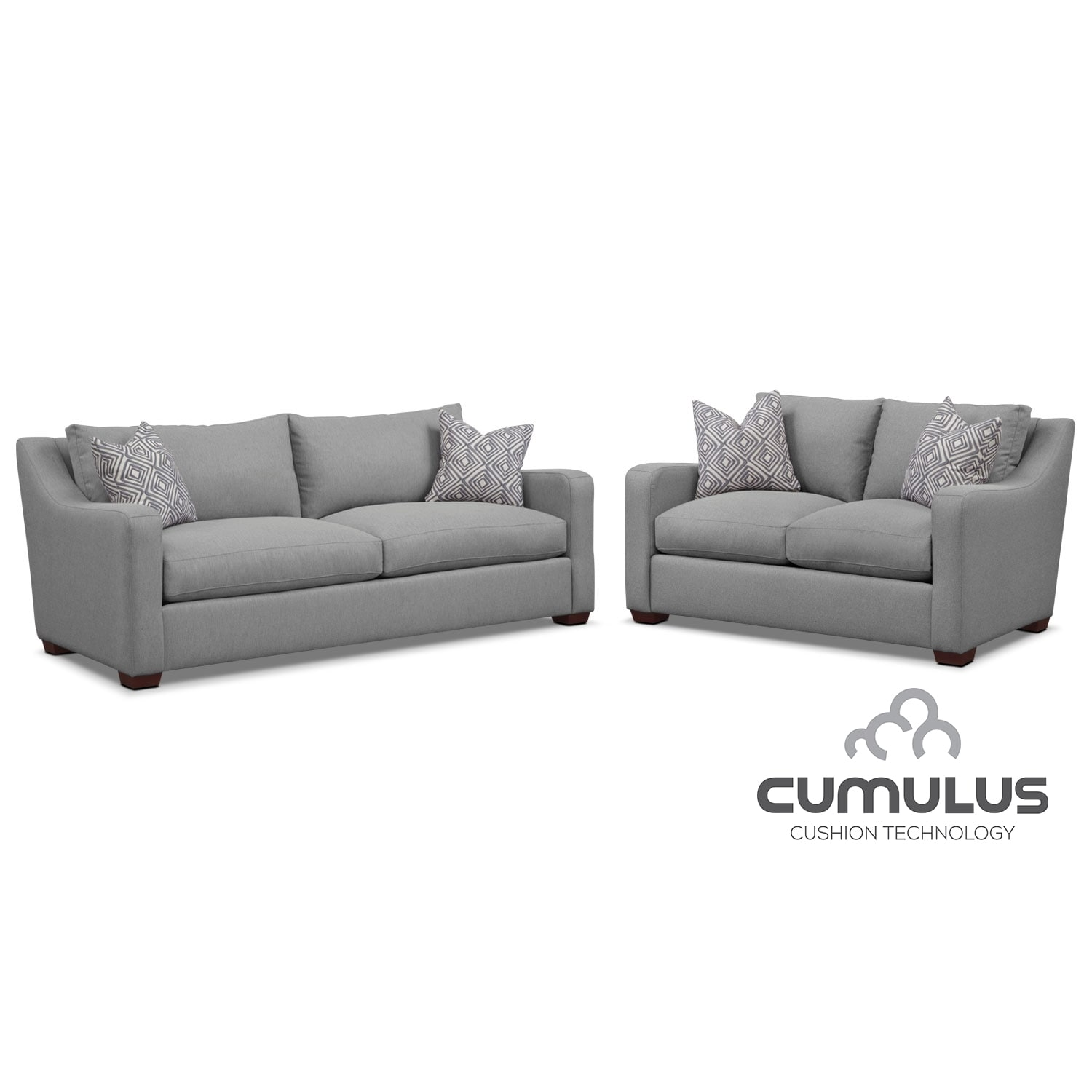Living Room Furniture - Jules Cumulus Sofa, and Loveseat Set- Gray