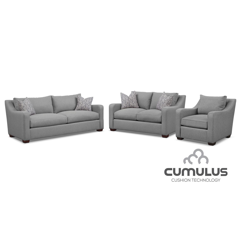 Living Room Furniture - Jules Cumulus Sofa, Loveseat, and Chair Set- Gray