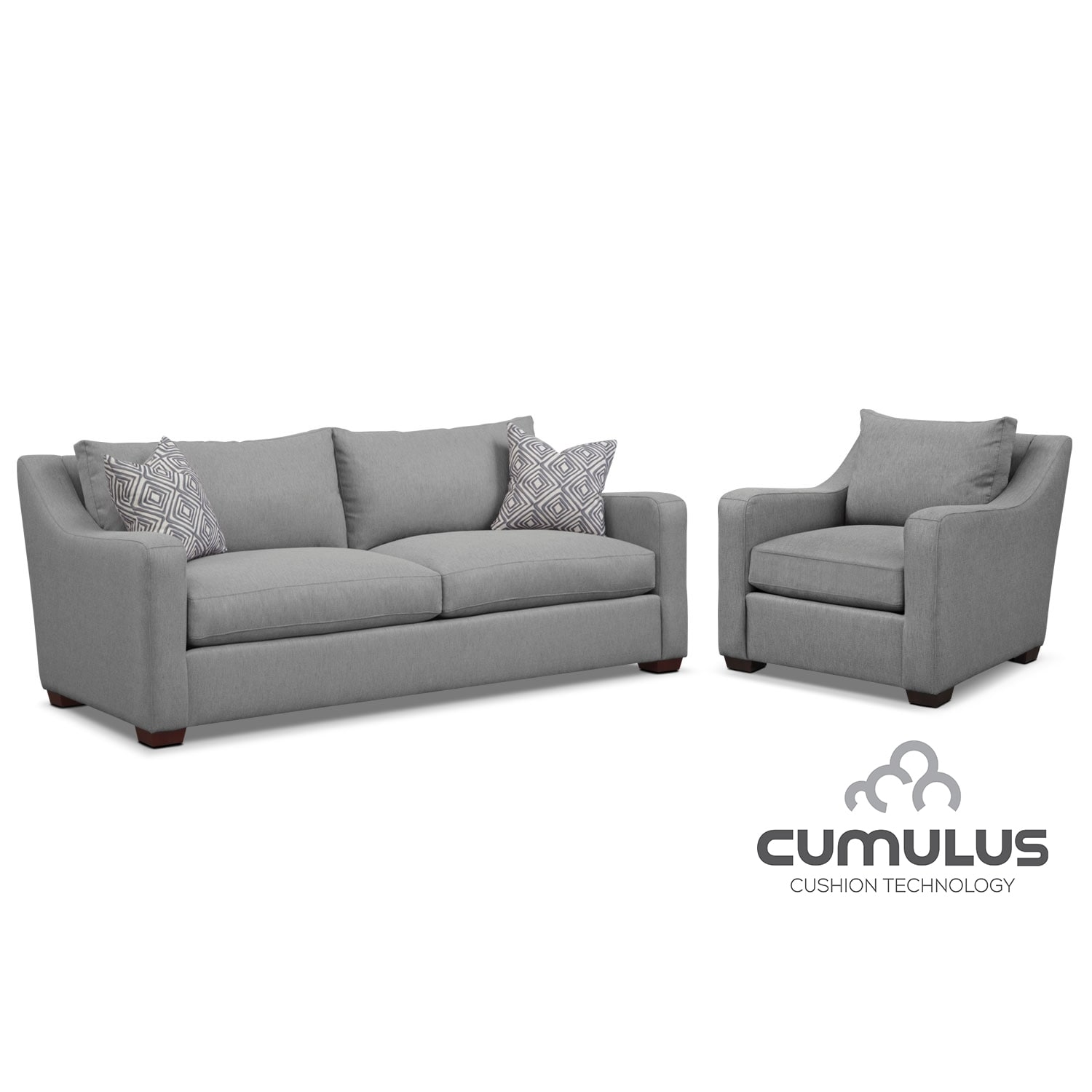 Living Room Furniture - Jules Cumulus Sofa and Chair Set- Gray
