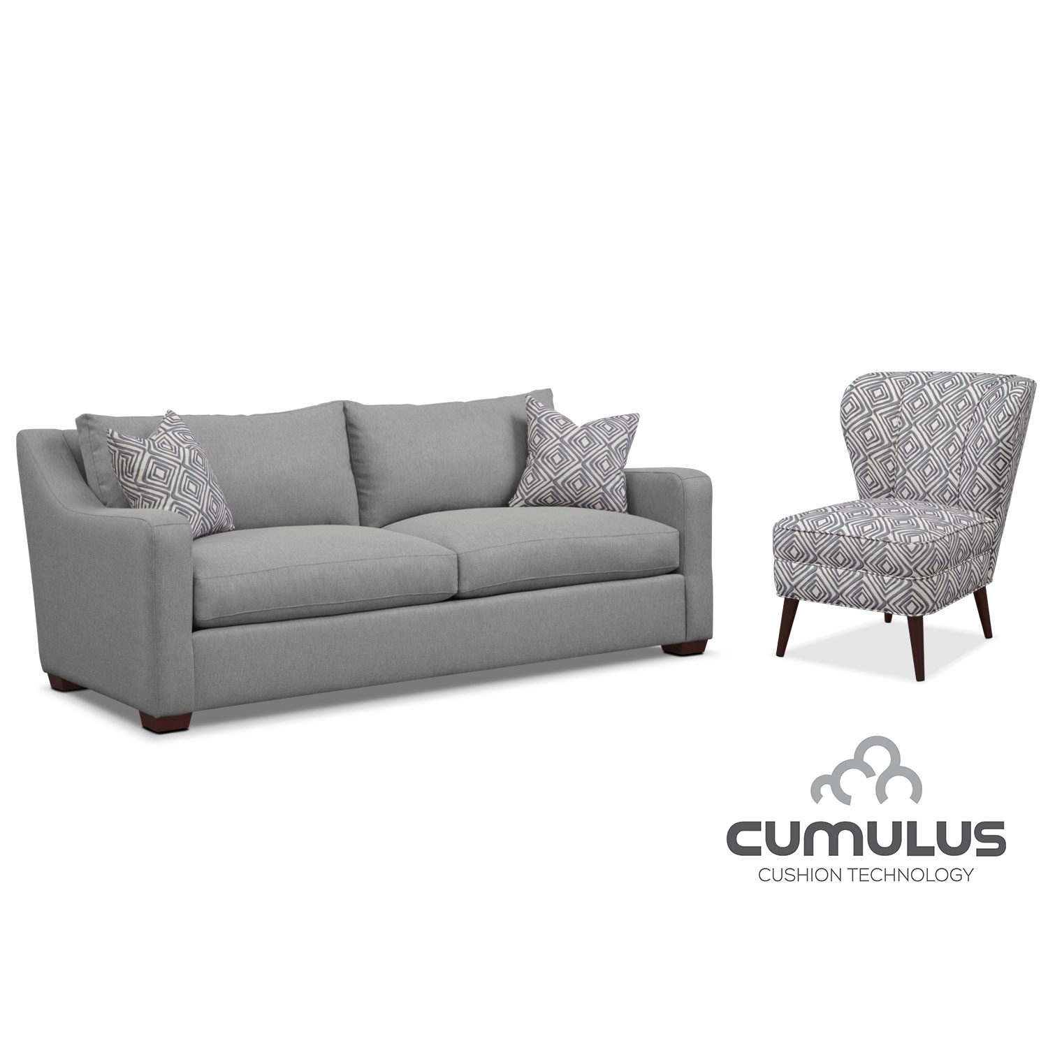 Living Room Furniture - Jules Cumulus Sofa and Accent Chair Set- Gray
