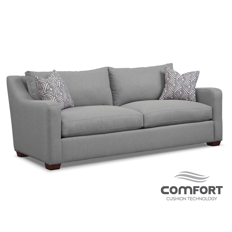 Living Room Furniture - Jules Comfort Sofa- Gray