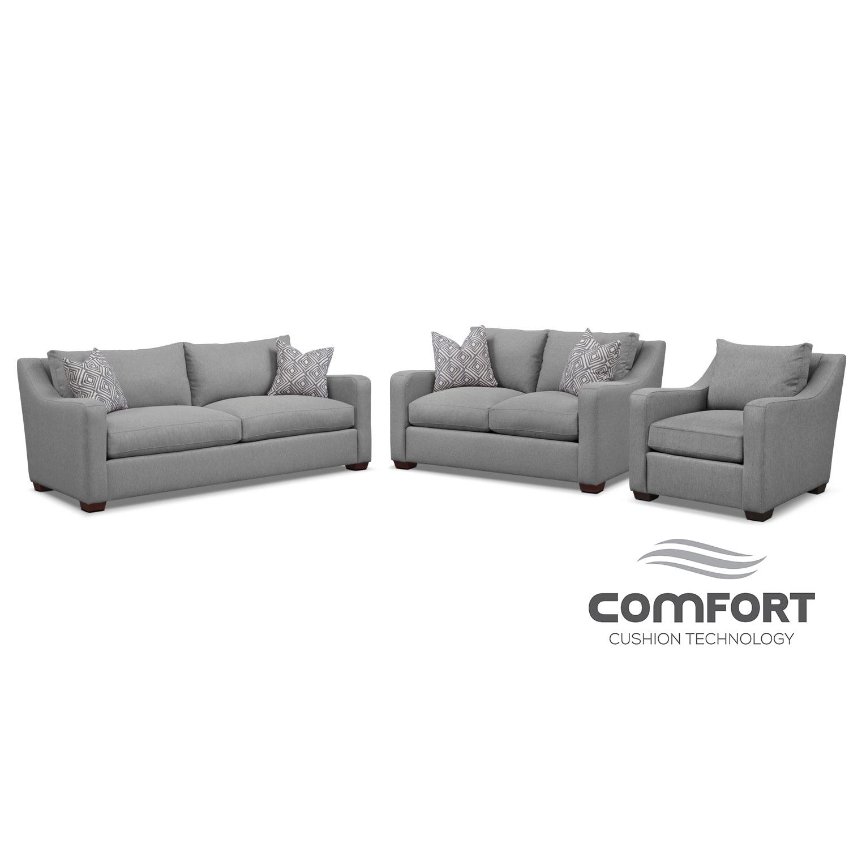 Living Room Furniture - Jules Comfort Sofa, Loveseat, and Chair Set- Gray