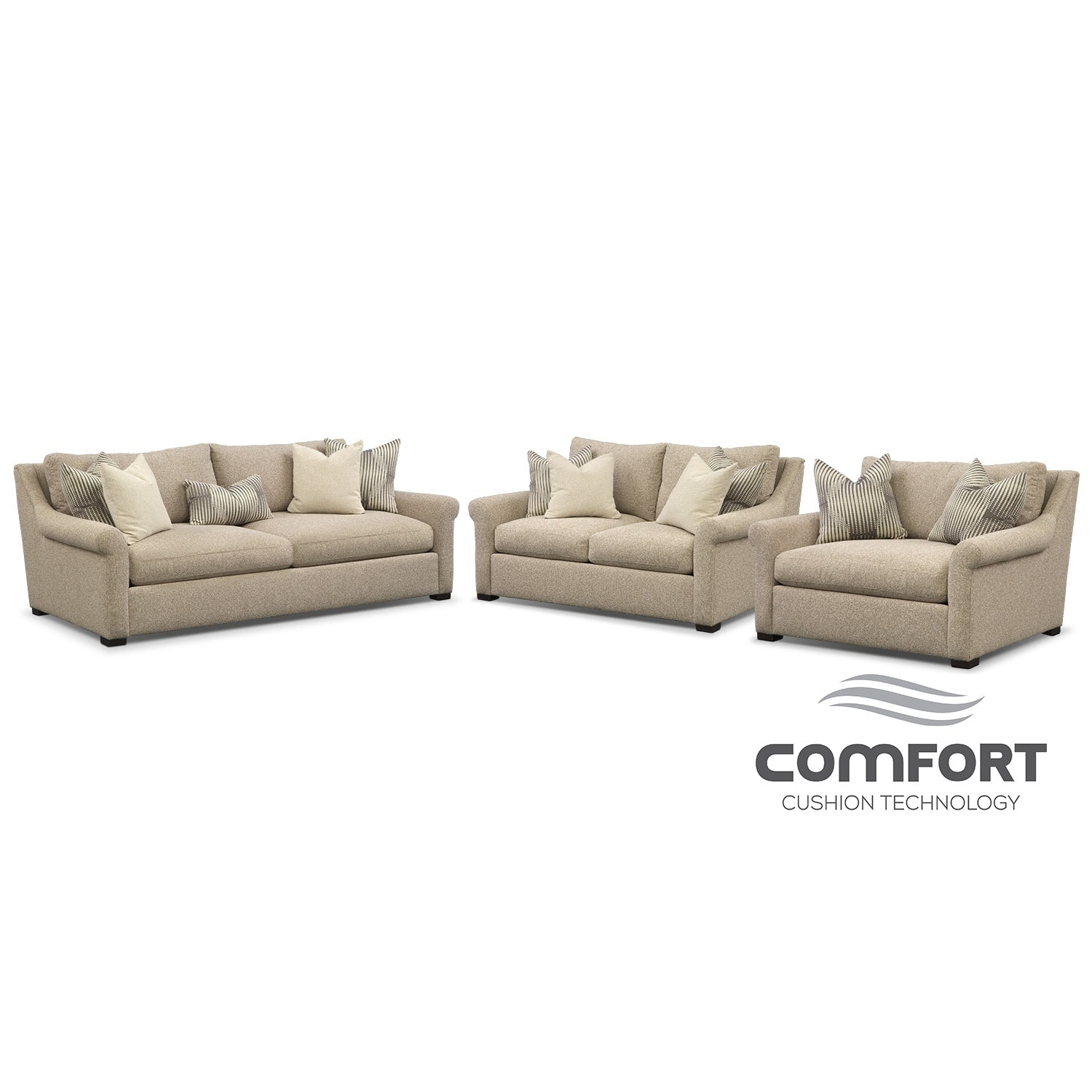 Robertson Comfort Sofa, Loveseat and Chair and a Half Set - Beige ...