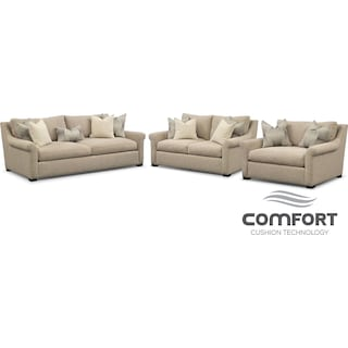 Robertson Comfort Sofa, Loveseat and Chair and a Half Set - Beige