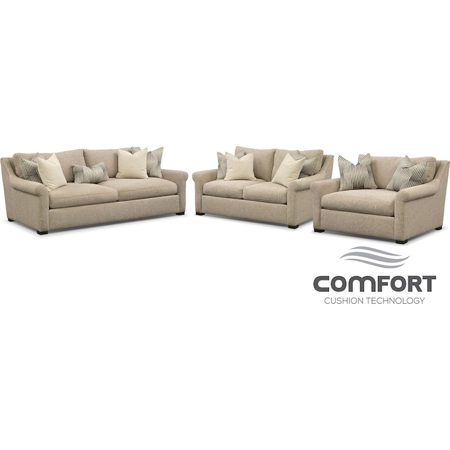 Living Room Furniture - Robertson Comfort Sofa, Loveseat and Chair and a Half Set - Beige