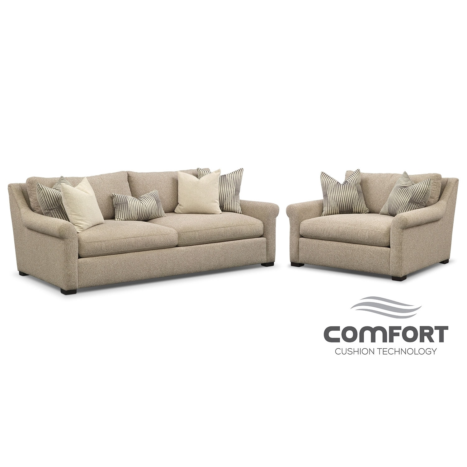 Comfort sofa and chair and a half set beige value city furniture