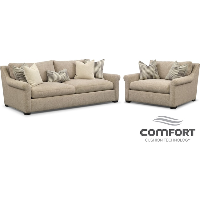 Living Room Furniture - Robertson Comfort Sofa and Chair and a Half Set - Beige