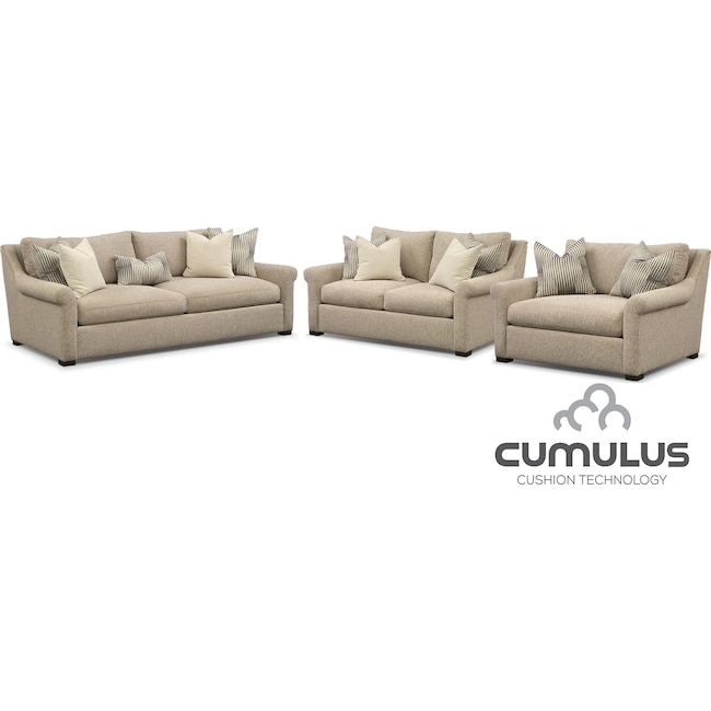 Living Room Furniture - Roberston Cumulus Sofa, Loveseat and Chair and a Half Set - Beige