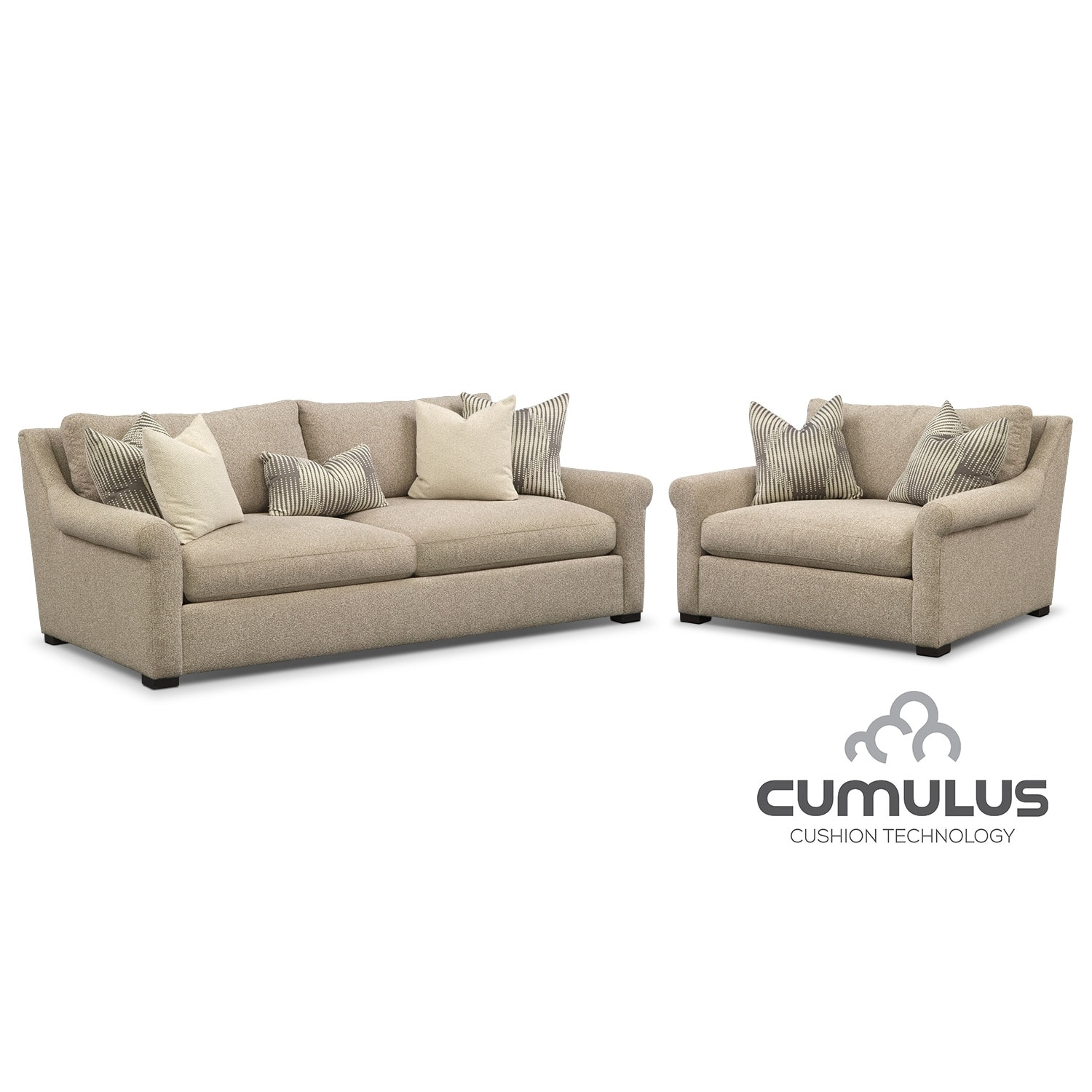 Living Room Furniture - Robertson Cumulus 2 Pc. Living Room Package w/ Chair