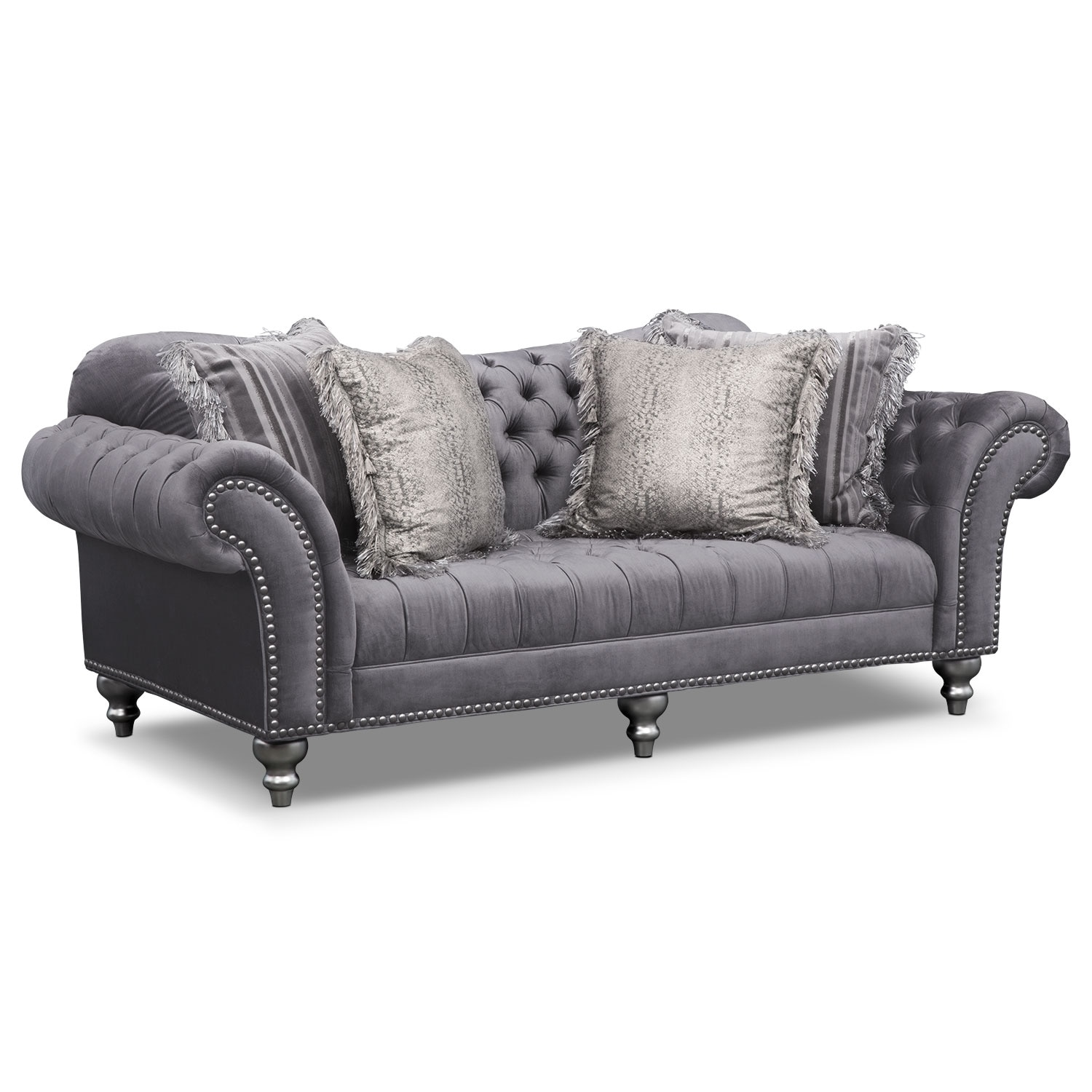 Brittney Sofa Gray Value City Furniture And Mattresses