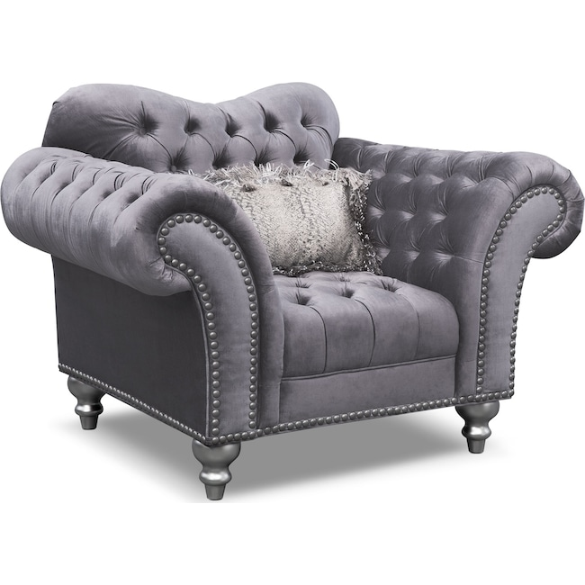 Living Room Furniture - Brittney Chair - Gray