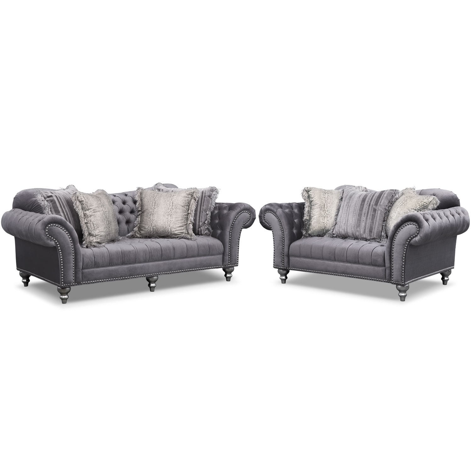 Living Room Furniture - Brittney Sofa and Loveseat Set - Gray