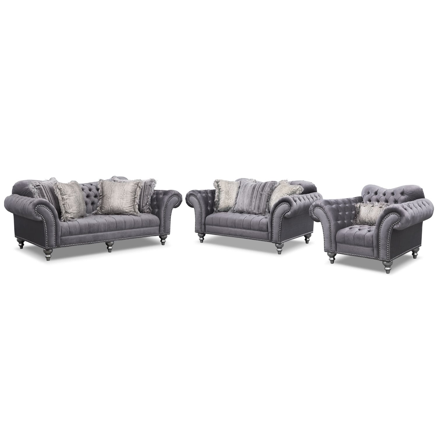 Living Room Furniture - Brittney Sofa, Loveseat and Chair Set - Gray