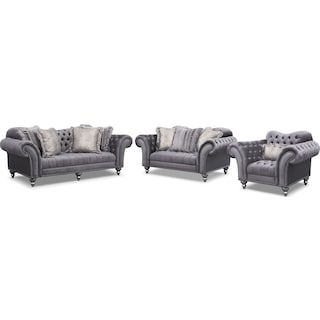 Brittney Sofa, Loveseat and Chair Set - Gray