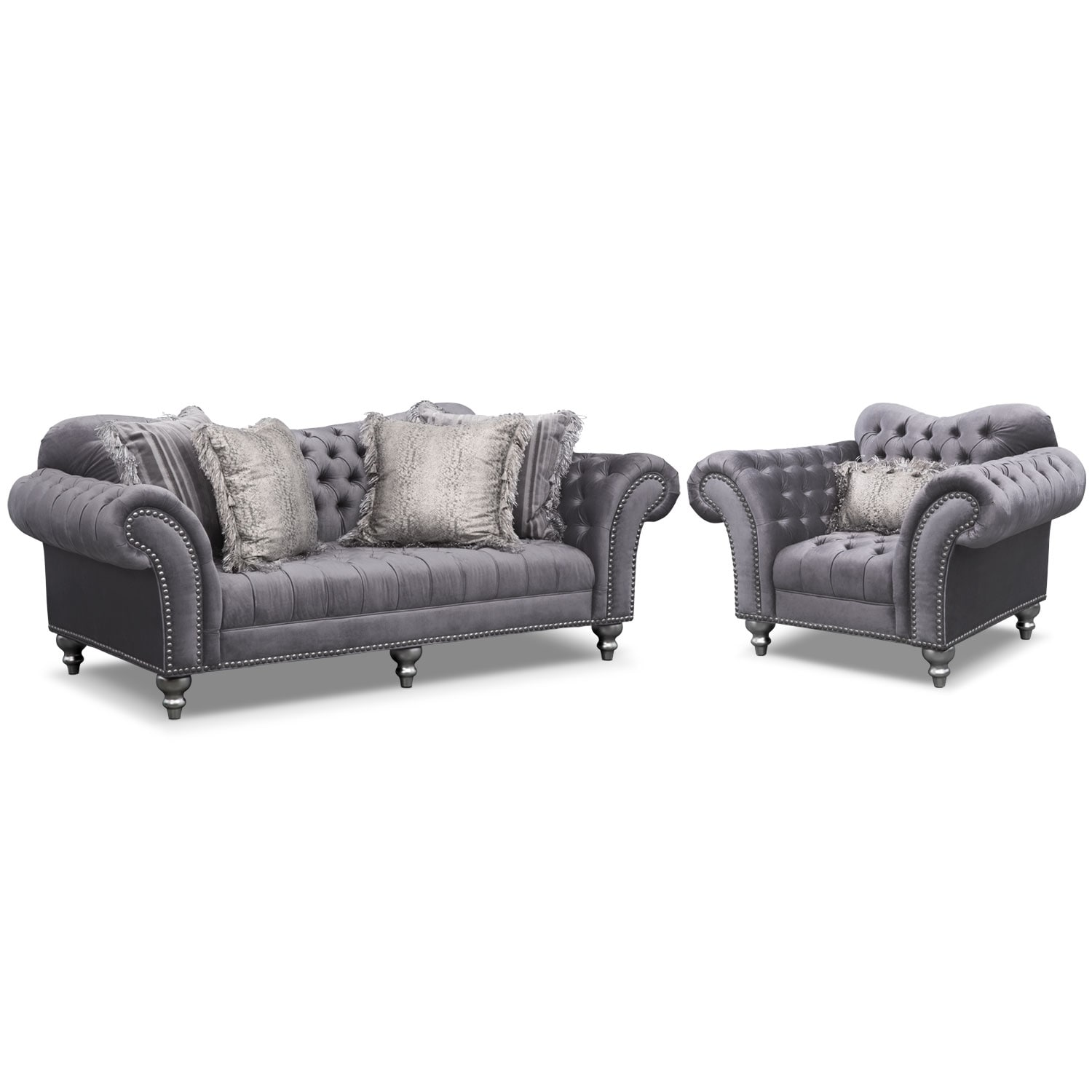Living Room Furniture - Brittney Sofa and Chair Set- Gray