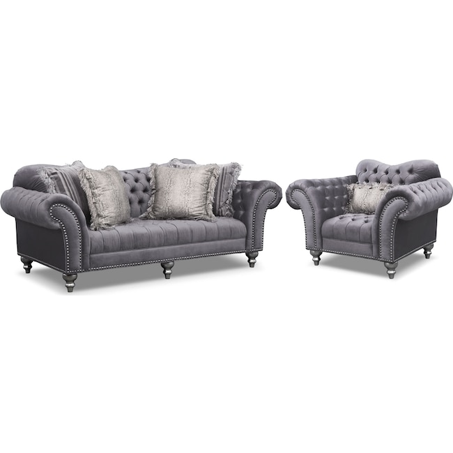 Living Room Furniture - Brittney Sofa and Chair Set - Gray