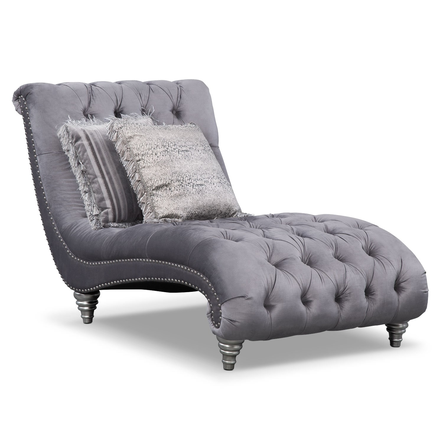Living Room Furniture - Brittney Chaise- Gray