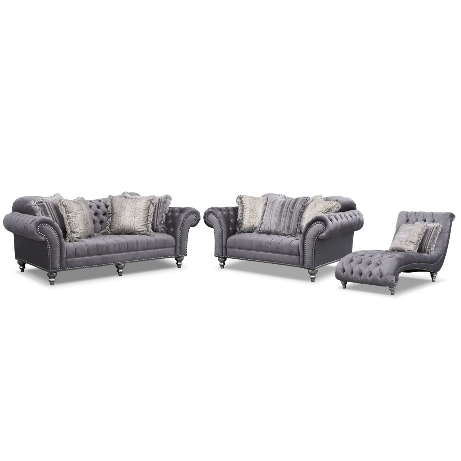 Living Room Furniture - Brittney Sofa, Loveseat and Chaise Set - Gray