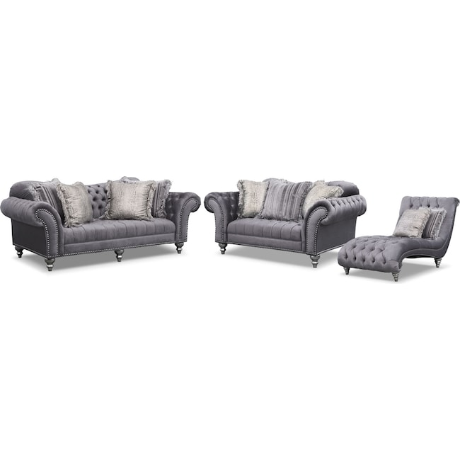 Living Room Furniture Brittney Sofa Loveseat And Chaise Set Gray