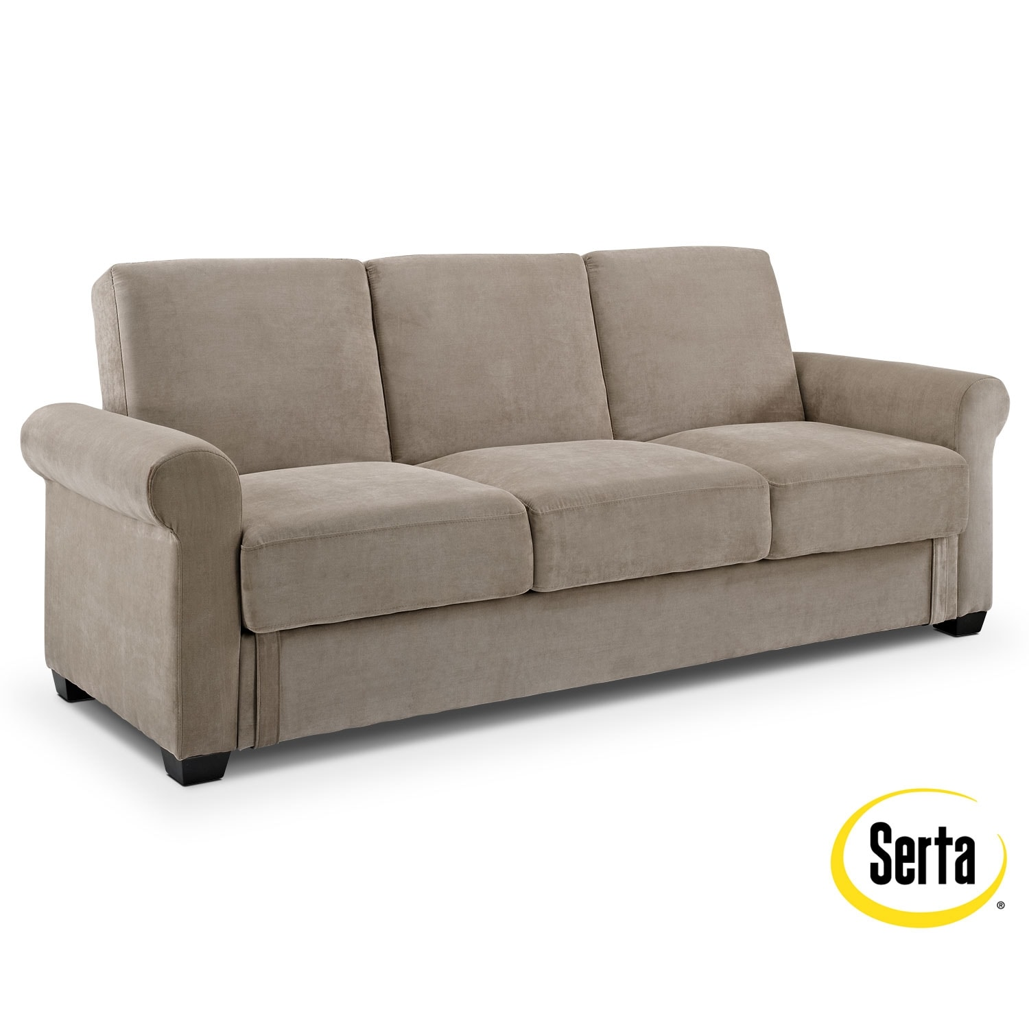 Accent and Occasional Furniture - Thomas Futon Sofa Bed with Storage - Light Brown