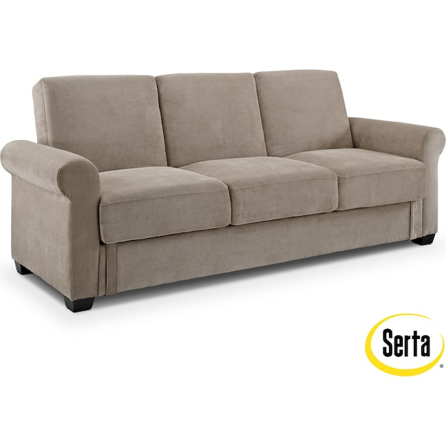 Living Room Furniture - Thomas Futon Sofa Bed with Storage - Light Brown