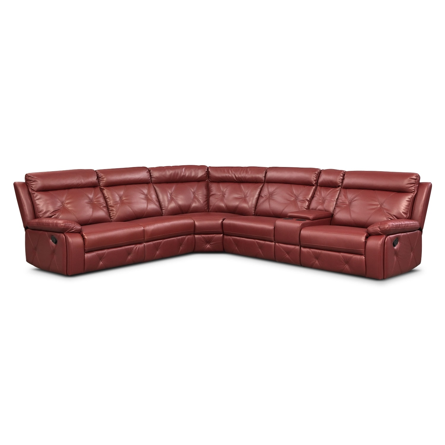 Dante Red 6 Pc. Reclining Sectional w/ 3 Reclining Seats
