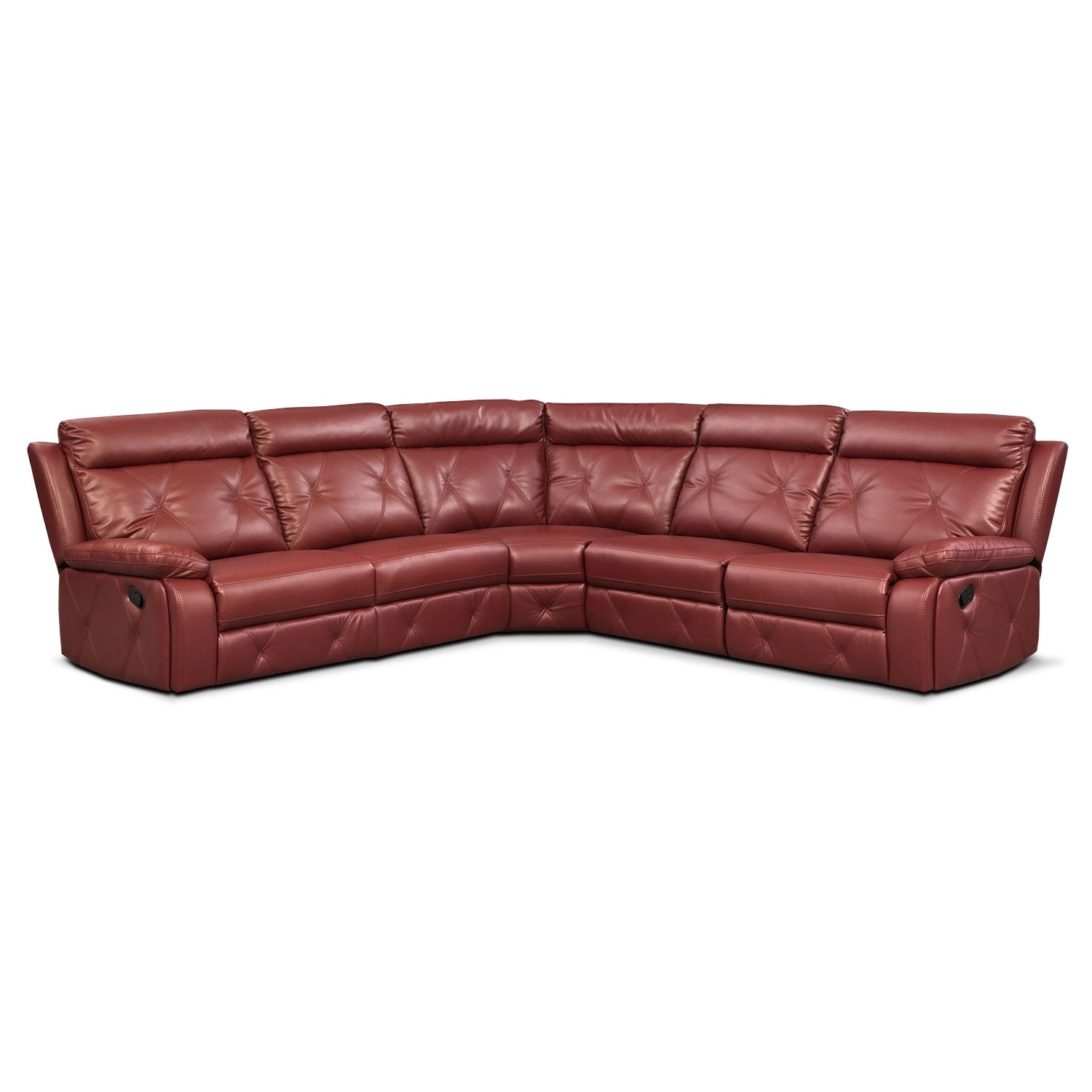 Living Room Furniture - Dante Red 5 Pc. Reclining Sectional w/ 3 Reclining Seats