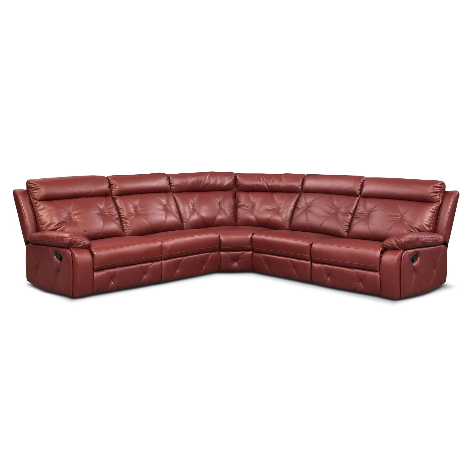Living Room Furniture - Dante 5-Piece Reclining Sectional with 2 Reclining Seats - Red