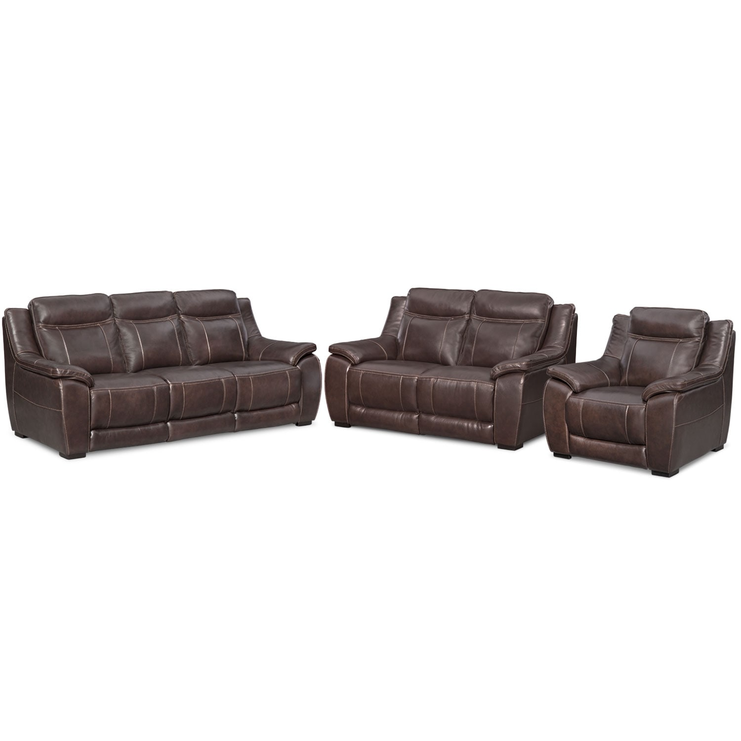 Lido Sofa, Loveseat and Chair Set - Brown