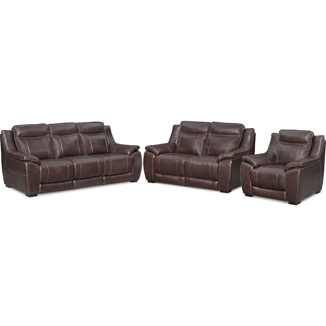 Living Room Furniture - Lido Sofa, Loveseat and Chair Set - Brown