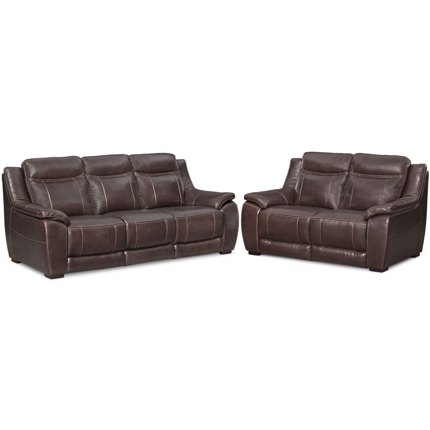 Lido Sofa and Loveseat Set - Brown
