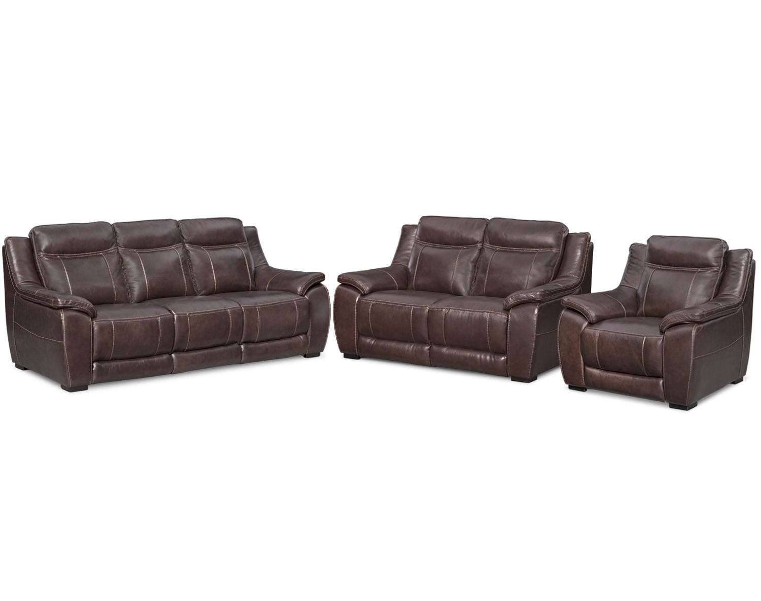 Leather living room furniture - The Lido Collection Brown