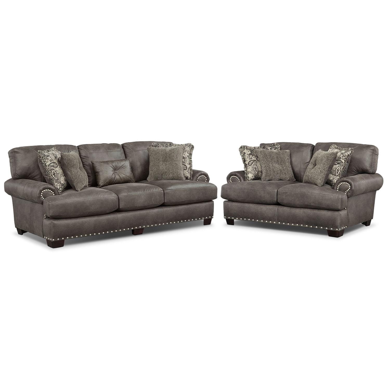 Burlington Sofa and Loveseat Set - Steel