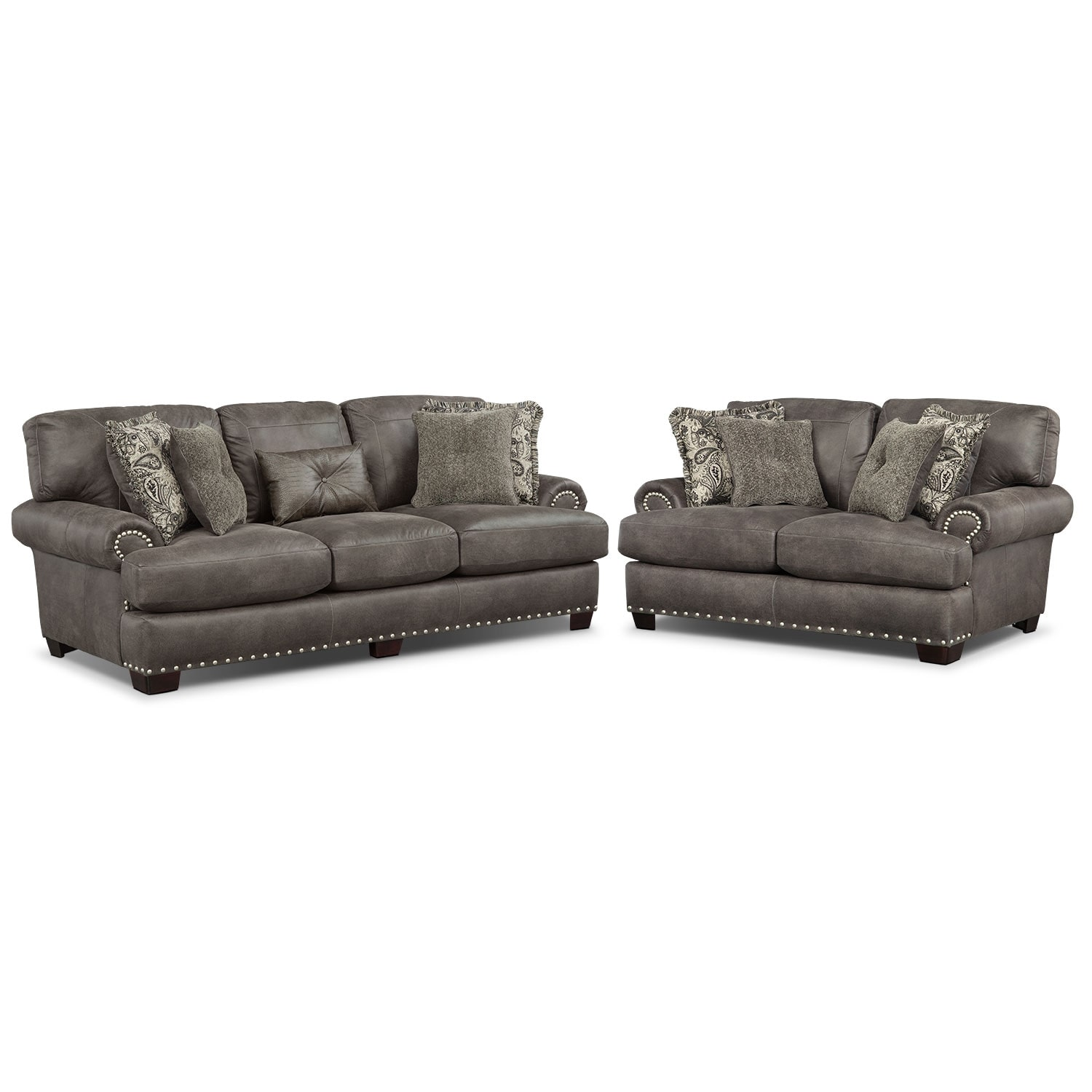 Living Room Furniture - Burlington Sofa and Loveseat Set - Steel