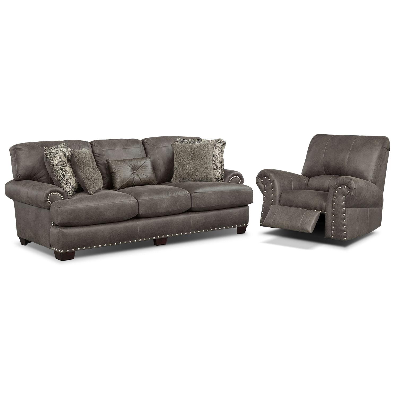 Burlington Sofa and Recliner Set - Steel