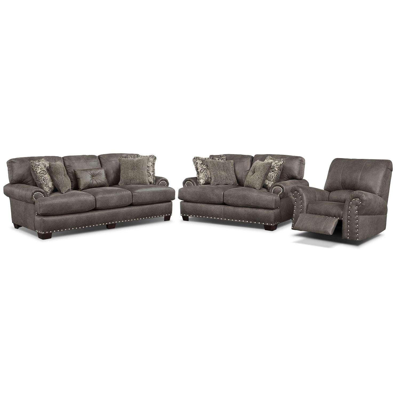 Burlington Sofa, Loveseat and Recliner Set - Steel