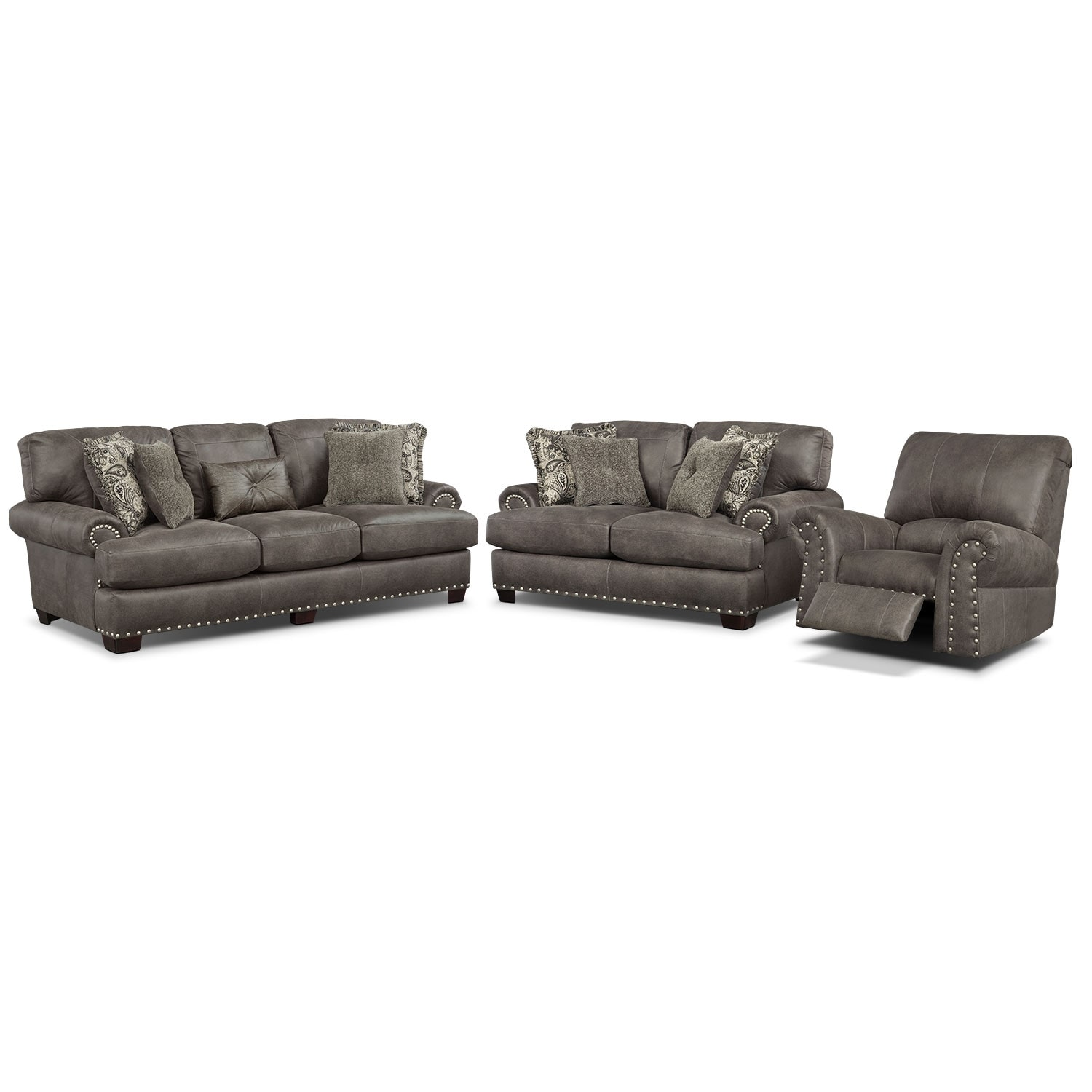 Living Room Furniture - Burlington Steel 3 Pc. Living Room